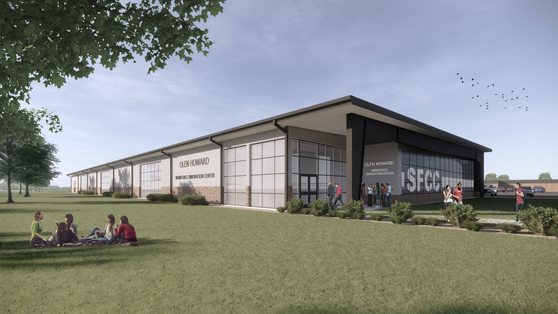 Front view rendering of State Fair Workforce Innovation Center