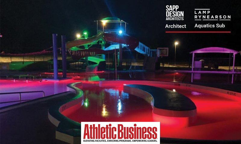 Rendered image of Marshfield water park at night