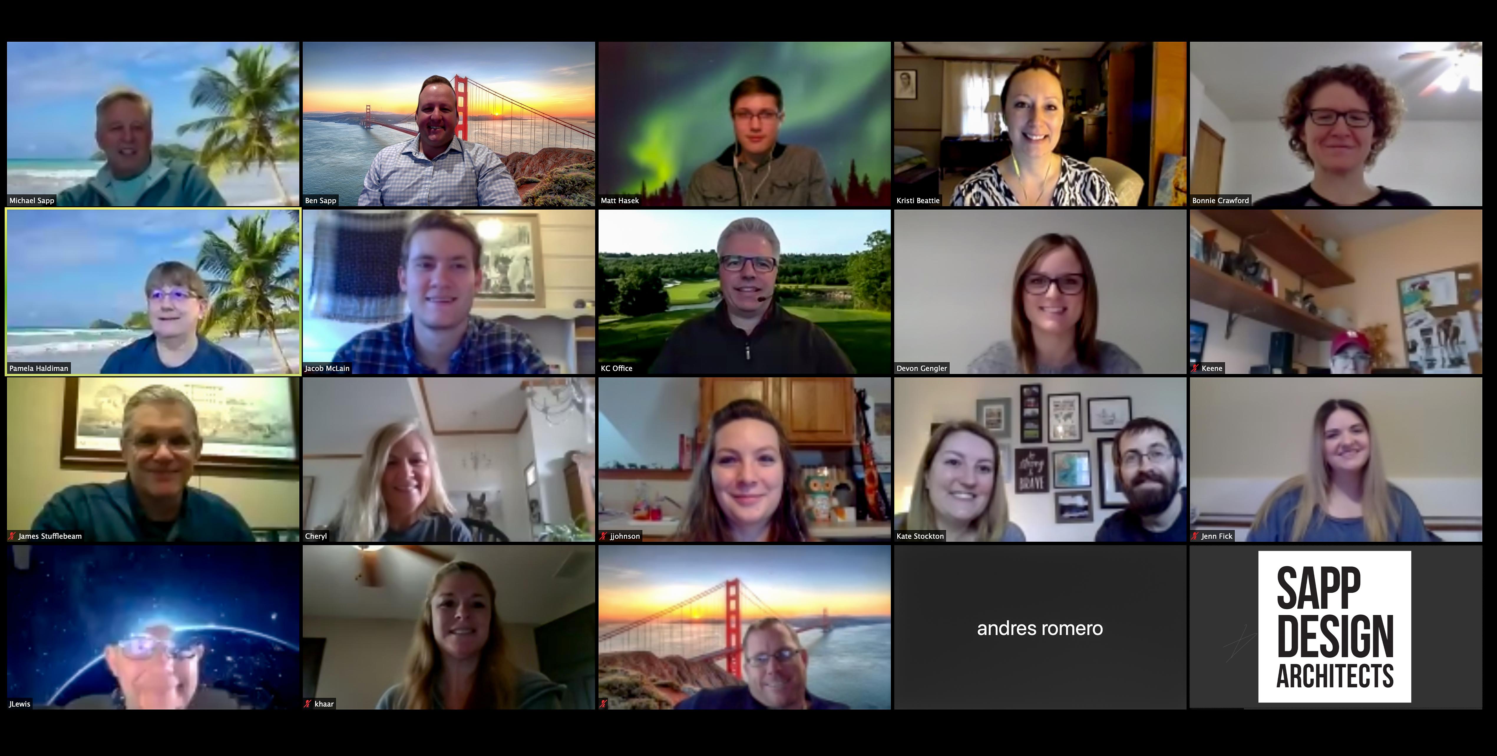 Screenshot of all Sapp design associates on video call