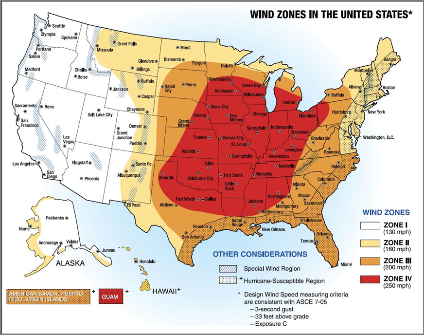 Map of Wind Zone sin the U.S