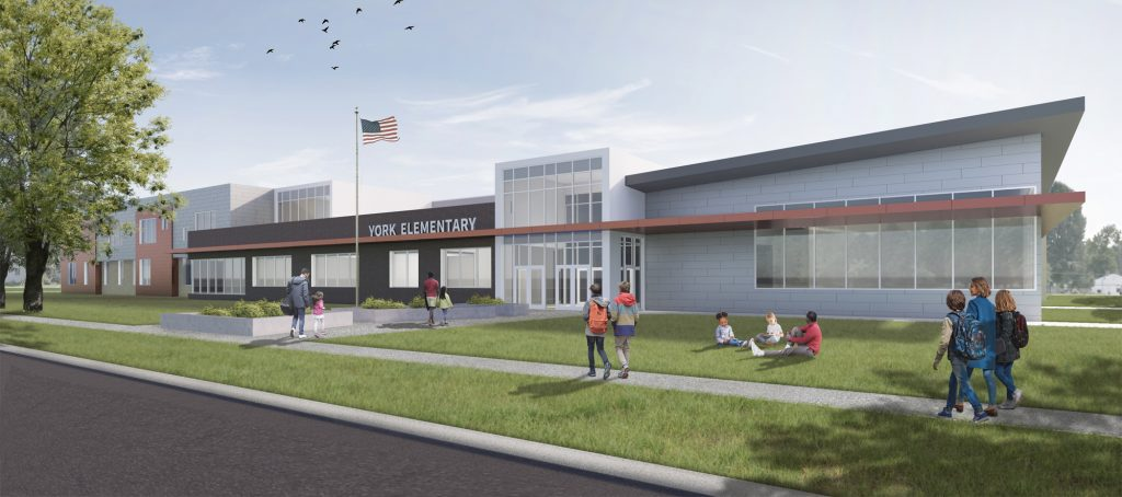 York Elementary 3-D Rendering Front entrance with lawn